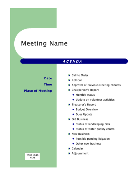 meeting agenda template microsoft word – Agenda Template Meeting