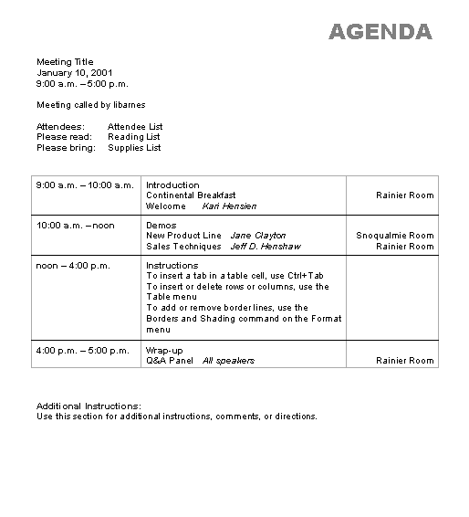 agenda wizard template