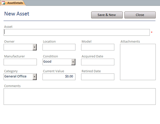 Click Assets Web Database Template Now to download the template.
