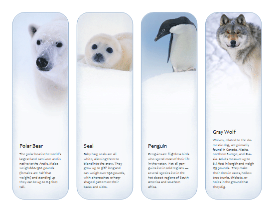 bookmarks  antarctic and arctic animals  template