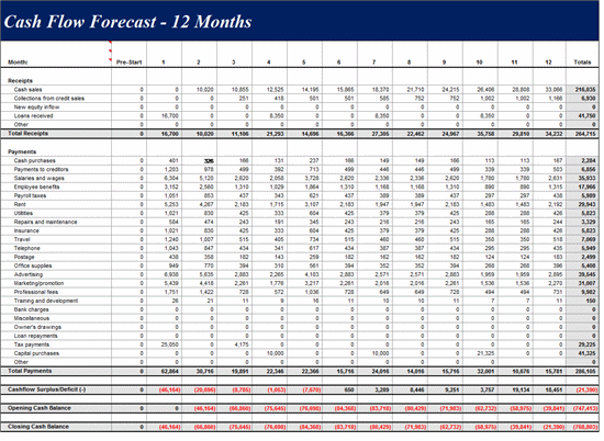 12 Month Cash Flow Forecast Template