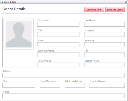 Charitable contributions database template   MS Access Templates