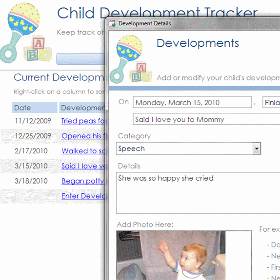 Click Child Development Database Template Now to download the template.