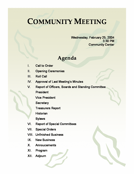 Church Meeting Minutes Template