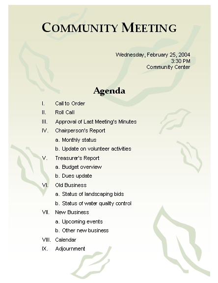 agenda of the meeting format - Yolar.cinetonic.co