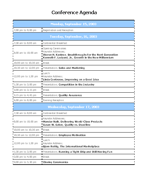 Click Conference Agenda Template Now to download the template.