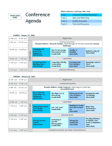 Click Conference Track Agenda Template to download the template.