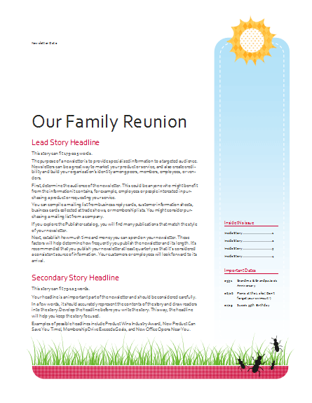 Family Reunion Newsletter Template Templates Office
