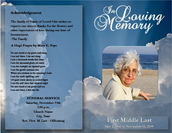 Click Funeral Service Program Template Now to download the template.