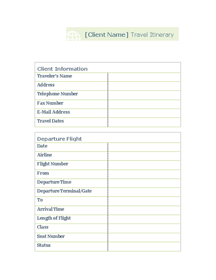 itinerary template