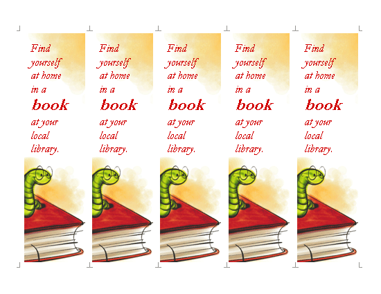 Library Bookmark Template Word Templates