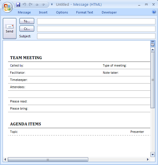 email meeting agenda template