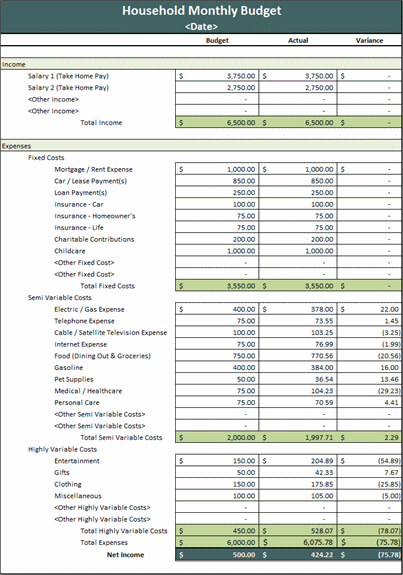 ... household budget - Microsoft Excel Template | MS Office Templates