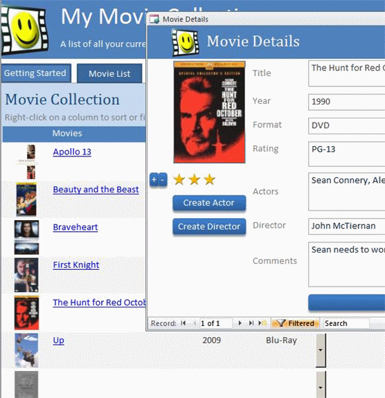 movie collection database template ms access templates. Black Bedroom Furniture Sets. Home Design Ideas