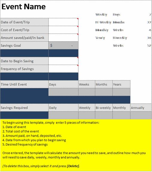 Multiple event savings estimator or savings planner for Savings planner template