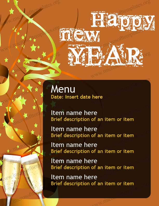 free New Year Party Menu Template