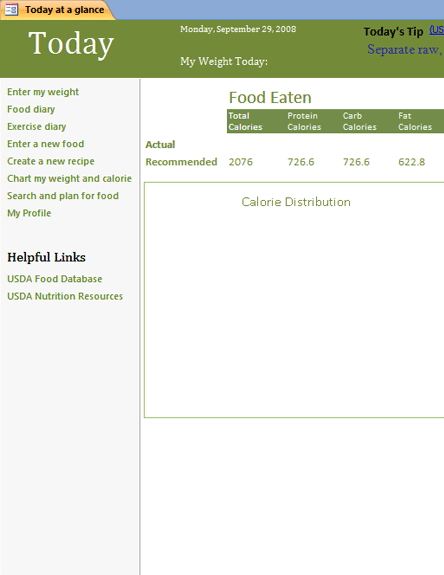 Click Nutrition Tracking Database Template to download the template.