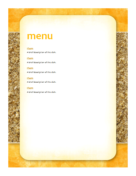 Party Menu Template | Free Menu Templates | MS Office Templates