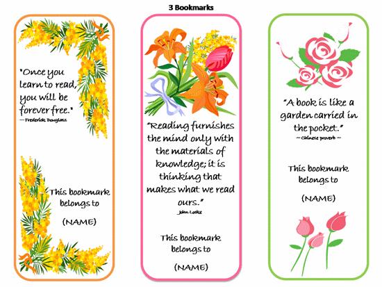 free bookmark template designs
