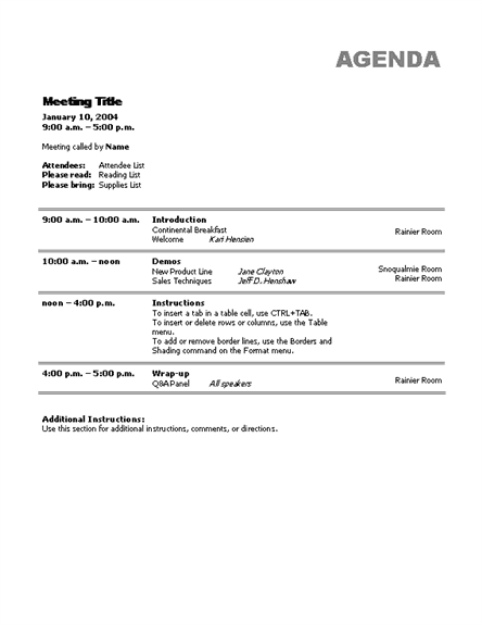 Sample Minutes Agenda Template Word Templates