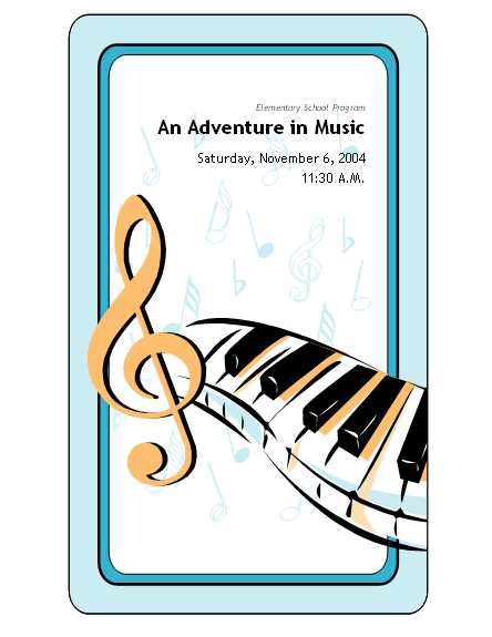 School Concert Event Program Template Microsoft Word