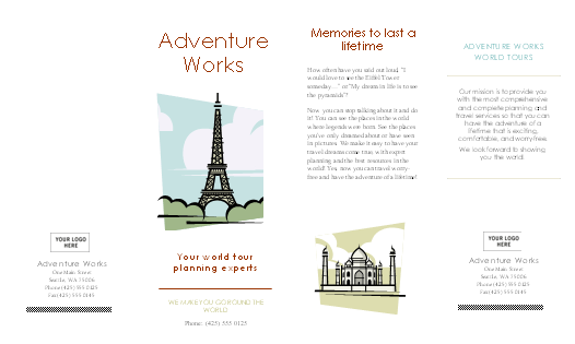 Word templates a complete collection of microsoft for Travel guide brochure template