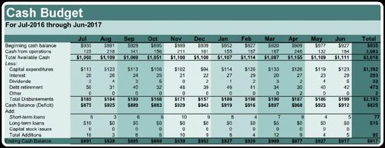 Cash Budget Format