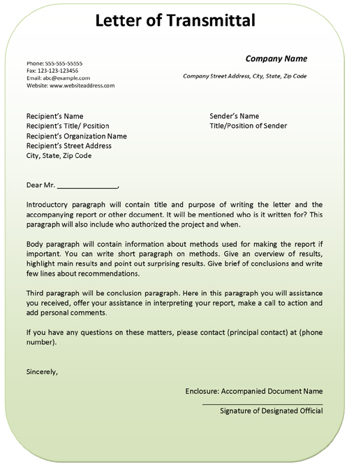 letter of transmittal example template ms office templates